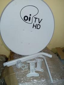 Kit 01 Antena Ku 60cm Logo Oi Tv+ Cabo+lnb+conector