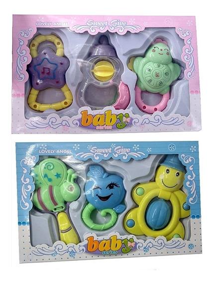 Kit Chocalhos Mordedor Brinquedos Musical Para Bebe Infantil