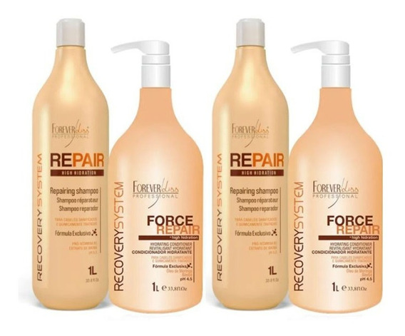 Kit 02 Shampoo E 02 Condicionador Force Repair 1 Litro