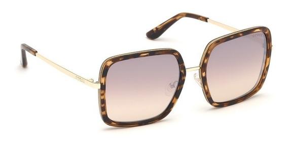 Oculos De Sol Guess Gu7602 52f Quadrado Dourado Marrom