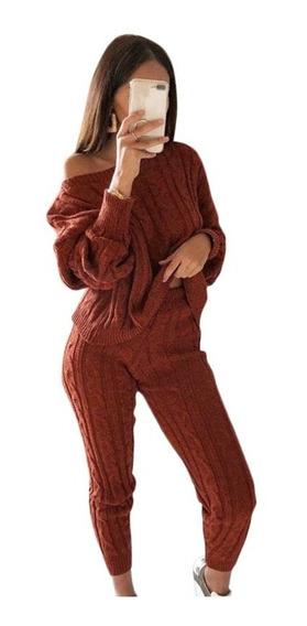 Conjunto De Dos Piezas De Mujer Suter Tops Pantalones Ca