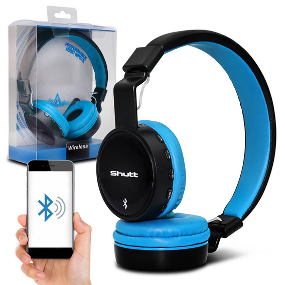 Fone De Ouvido Headphone Eua Wireless Preto Azul Claro Shutt