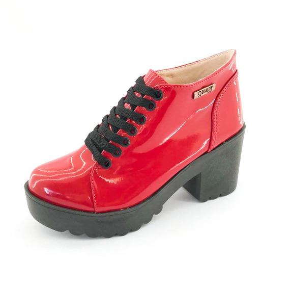 Bota Coturno Quality Shoes Feminina Verniz Vermelho