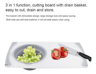 Tabla De Cortar Retráctil De Cocina Multifunción Con Cesta D