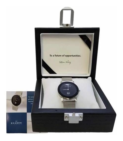 Reloj Skagen Color Silver Modelo Unisex En Su Caja De Madera