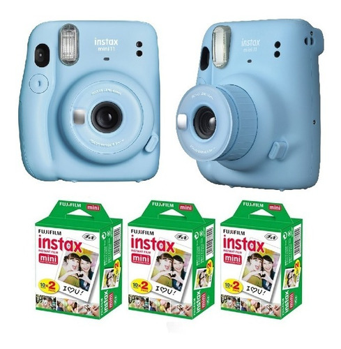 Cámara Fujifilm Instax Mini 11 Selfie + 60 Fotos Azul Cielo