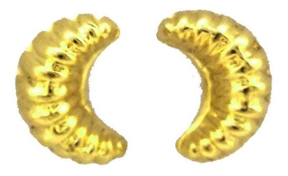 Brinco Concha Meia Lua Segundo Furo Ouro Amarelo 18k J19876