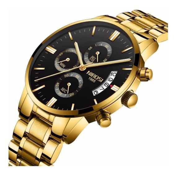Relógio Nibosi 2309 Masculino Dourado Social Original Luxo Prova D