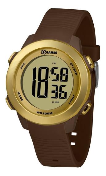 Relógio X-games Feminino Digital Xfppd079 Dourado Marrom