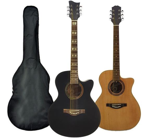 Guitarra Electroacustica Cuerdas Acero Corte Pickguard Funda