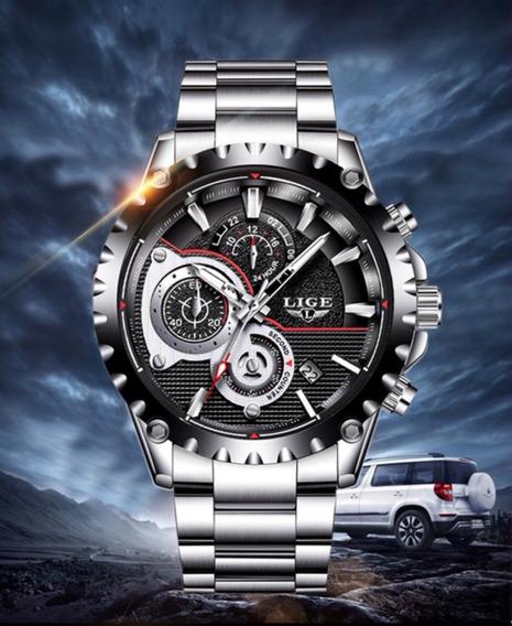 Relógio Masculino Lige 9842 100% Funcional Original Aço