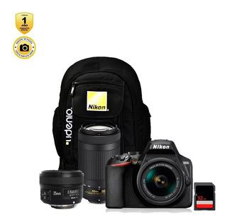 Cámara Nikon D5600 + Lente 18-55mm + 70-300mm + 35mm Yongnuo