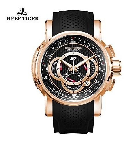 Reef Tiger Mens Cronógrafo Sport Rose Gold Rubber Strap Rel