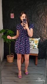 Vestido Para Dama Casual Color Marino Estampado De Flores