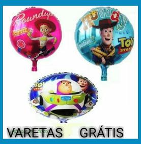 15 Balão Metalizado Toy Story De 45 Cm Varetas Grátis