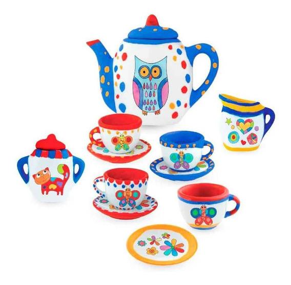 Brinquedo Jogo De Chá Cerâmica Pintadas À Mão Infantil 13pç