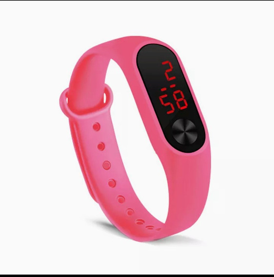 Relógio De Pulso Led Digital Feminino Rosa