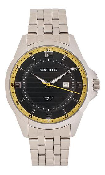 Relógio Seculus 28360g0sgna1 Aço Inox Prata Números
