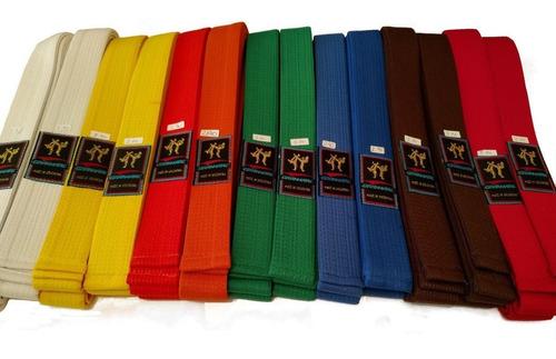Imagen 1 de 2 de Cinturon Artes Marciales 2 Mt 10 Costuras Taekwondo Itf Wtf