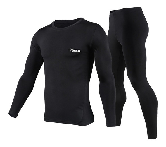 Conjunto Termico Pantalon Remera Oslo Negro Invierno Um