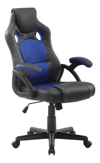 Cadeira Escritório Gamer Giratória Presidente Preta E Azul