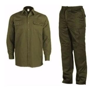 Kit Ropa Trabajo Verde Camisa Pantalon Comu Verde