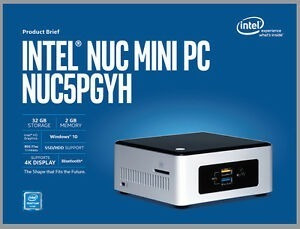 Intel Nuc Nuc5pgyh - 8gb E Embedded Storage 32gb + Win 10