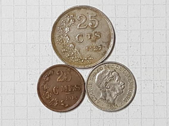 Luxemburgo 3 Monedas Diferentes Muy Antiguas