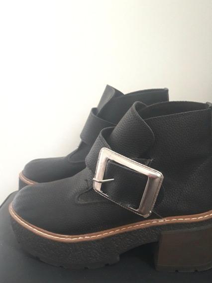 Zapatos Plataforma Mujer Negros Cuero