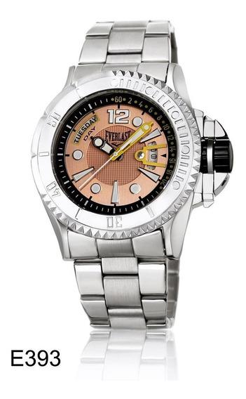 Relógio Pulso Everlast Masculino Aço Calendário E393