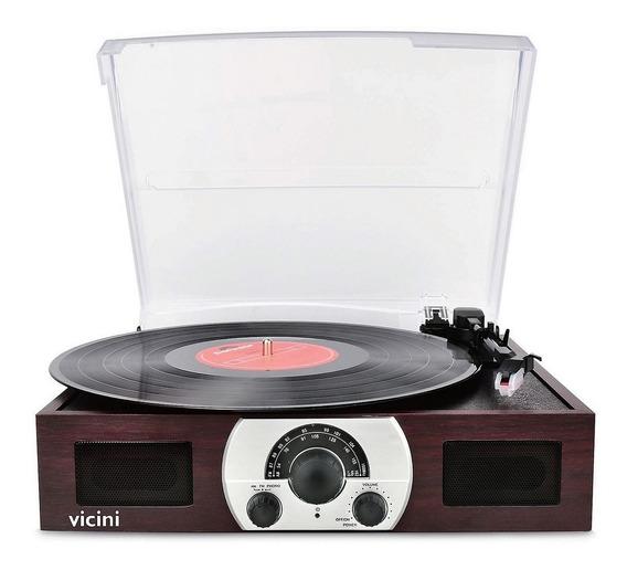 Radio Vitrola Toca-discos Bluetooth Reproduz E Grava Vicini