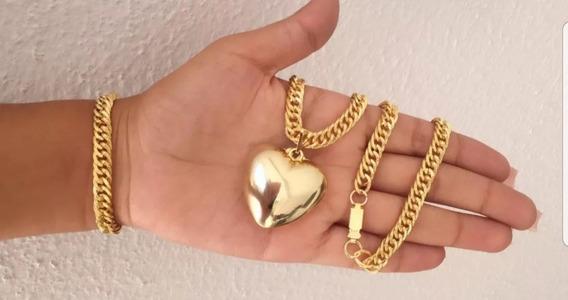 Kit Colar Coração Banhado A Ouro 18k Promoção