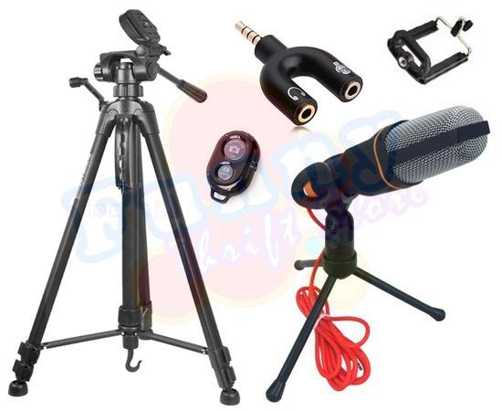Kit Youtuber Microfone Condensador Mtg-020 Tripé 1,70m