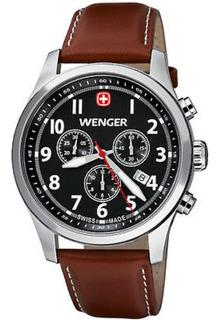 Reloj Wenger Hombre, Malla Cuero Marron, Crono Y Calendario