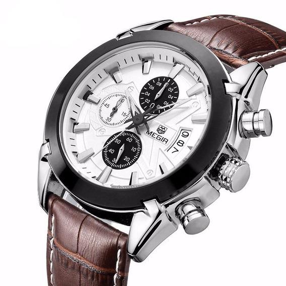 Relógio Megir 2020 Original Luxo Couro Com Cronógrafo