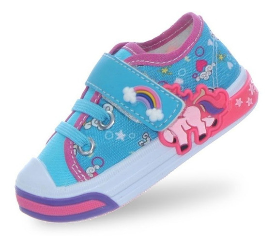Tenis Infantil Feminino Meninas Unicornio Azul