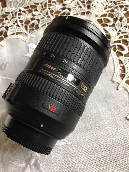 Lente Objetiva Af-s Nikon18-200mm F/3.5 5.6 Ed Vr Dx, Com Nf