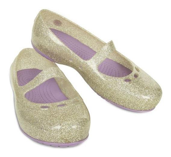 Sapatilha Kids Flat Dourada Crocs Original. T