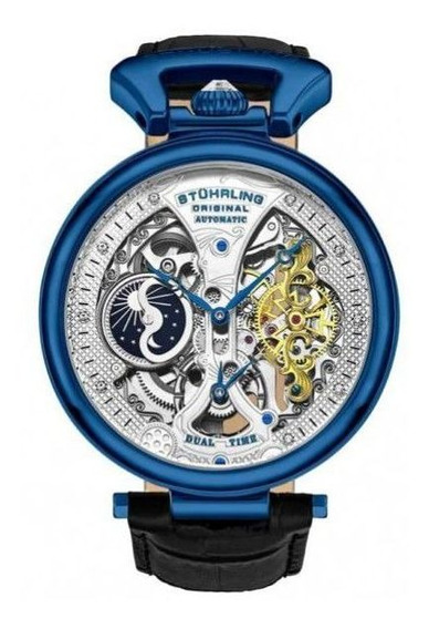 Stührling Azul Automático De 46 Mm Imperador Grand Dt 3920.3