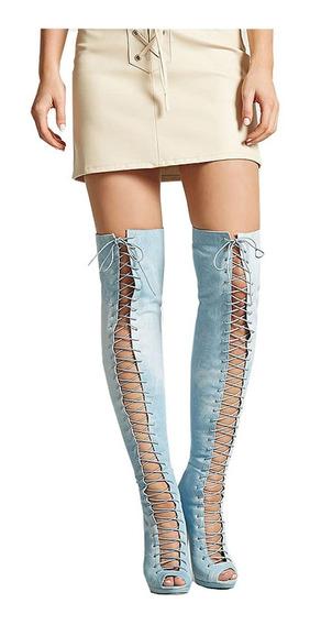 Botas Bucaneras Celestes Abiertas De Jeans