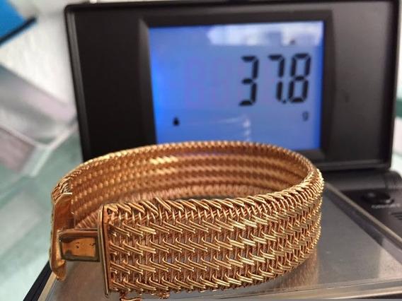 Pulseira Em Ouro 18k-750 - 37,8 Gr.comp.:18cm.,larg.:21mm.