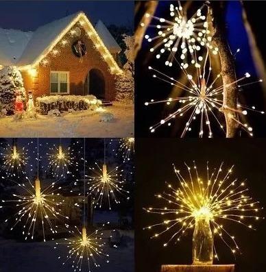 3 Luminária Led Fogos D Artifício Luz De Fada Natal Ano Novo