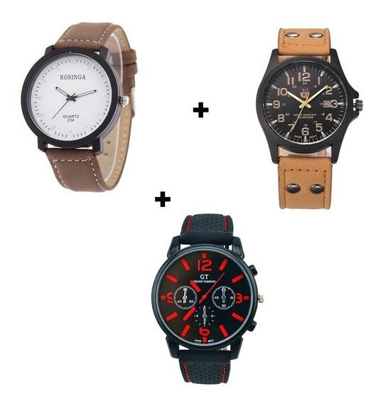 Relógio Casual Lindo Kit Com Três Unidades Completo Barato