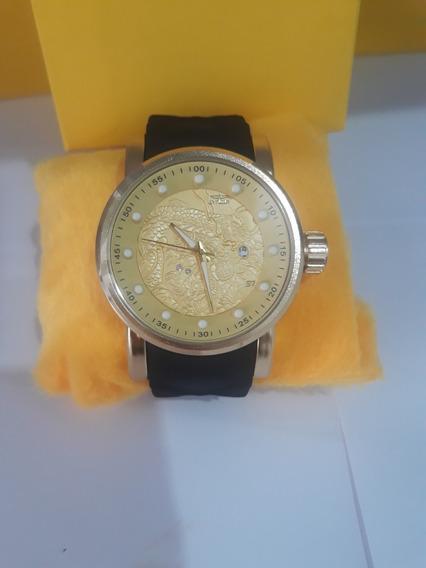 Relógio Masculino De Pulso Simbolo De Dragão S1 De Luxo