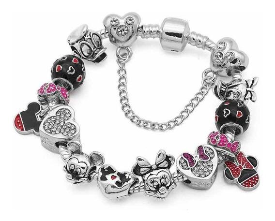 Disney Mickey Mimi 13 Charms Pulsera Tipo Pandora Swaroski E