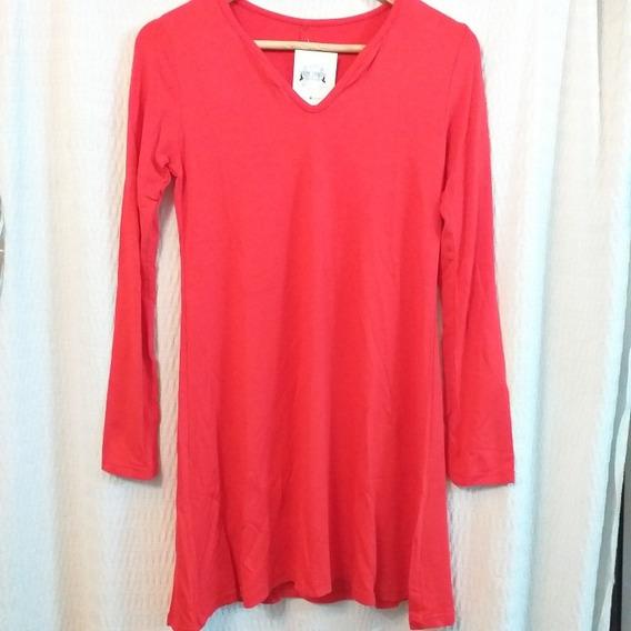 Remerón Remera Vestido Modal Rojo