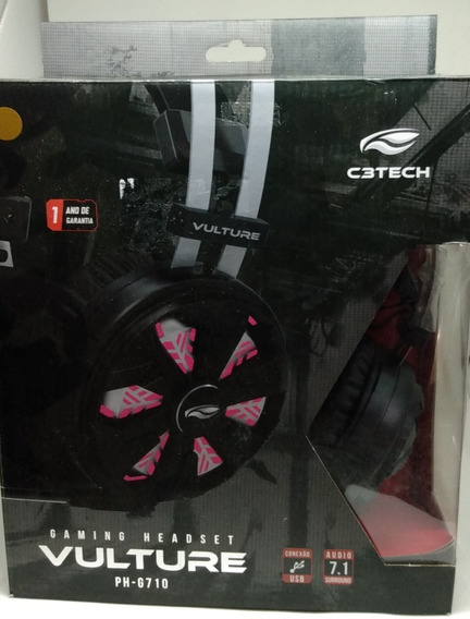 Headset Gamer C3tech Vulture 7.1 C/ Vibração Preto Ph-g710bk