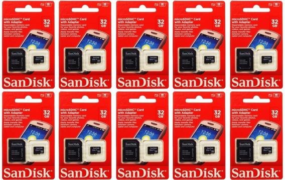 Kit 10 Cartão De Memória Micro Sd Sandisk 16gb Original