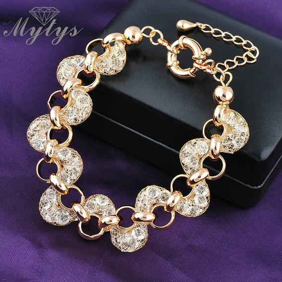 Pulseira Bracelete Feminino Zirconias Semi Joia Banhado Ouro