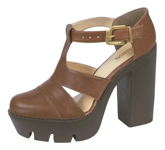 Zapato Mujer Tacón Ancho 11 Cm Café Cklass
